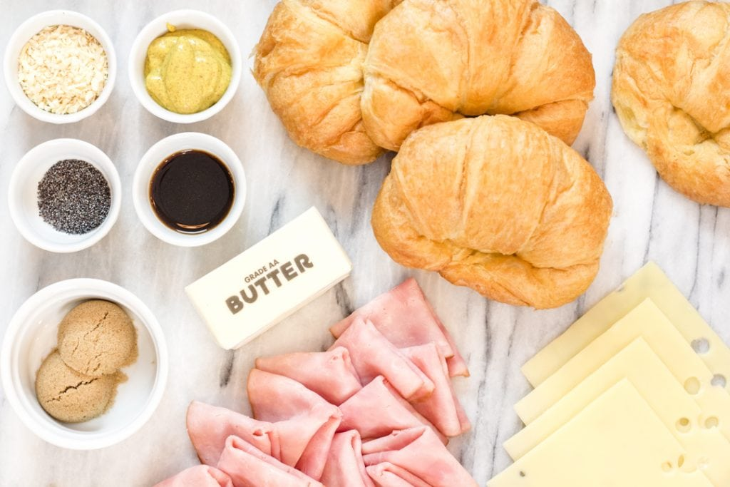 Ham and Cheese Slider Ingredients Flat lay