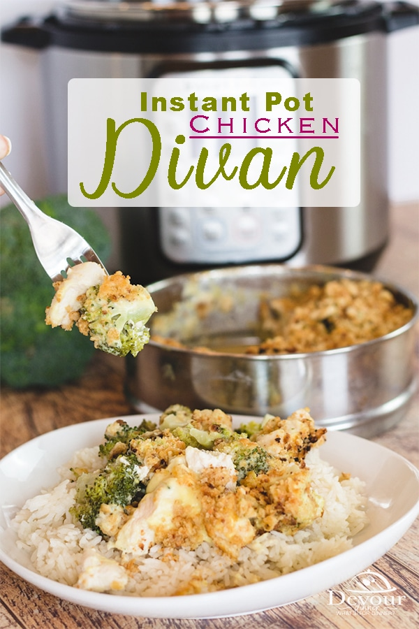 Chicken Divan and Rice is a warm and delicious dinner that can please the whole family. With a rich and creamy sauce, fresh broccoli and cheese- it's hard NOT to like it! This Chicken Divan Recipe made quick and easy in the pressure cooker / Instant Pot is a one pot meal with easy clean up made in under 30 minutes. #devourdinner #easyrecipe #instantpot #instantpotrecipes #pressurecooker #dinner #chicken #chickendivan #recipes #recipe #Food #foodie #recipeoftheday #easydinner #familyfavorite