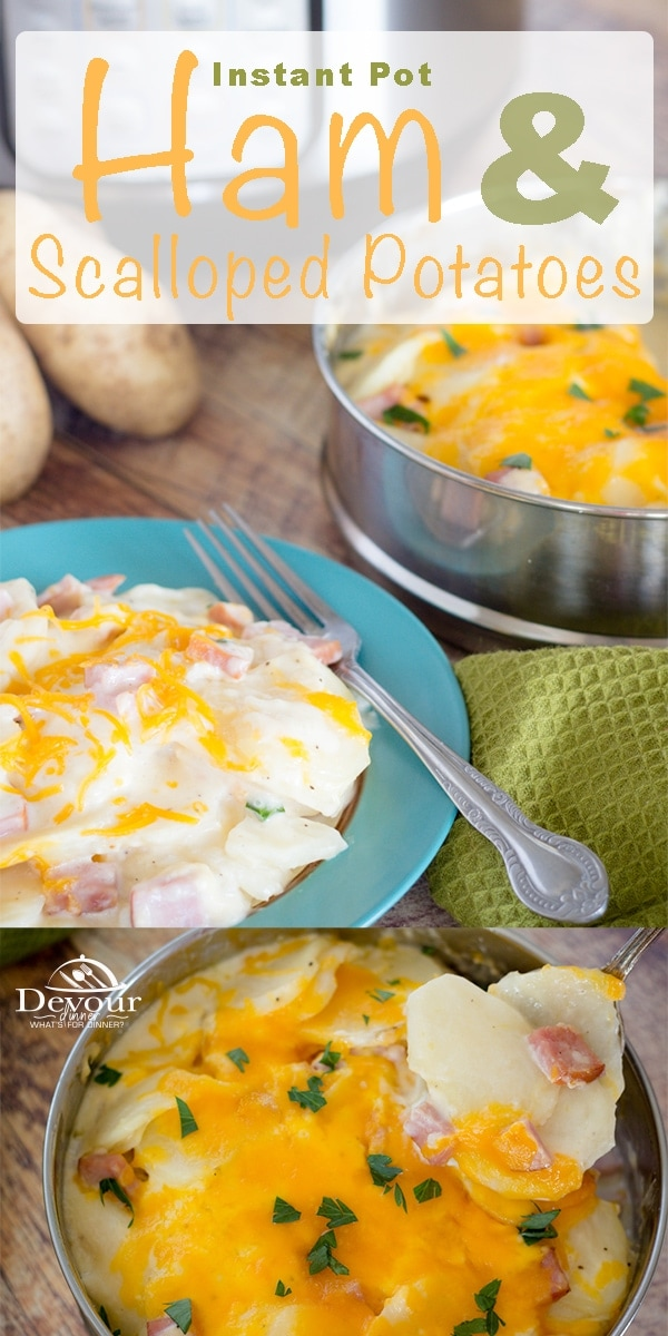 Scalloped Potatoes and Ham is a delicious dish. What's great about this scalloped potatoes and ham recipe is that it's easily made in the Instant Pot. A lot of households choose to simply buy their scalloped potatoes from a box at the store, and while there is nothing wrong with that- it just doesn't taste the same as homemade. #devourdinner #recipe #ham #potatoes #sidedish #easysidedish #Instantpot #instantpotrecipe #easydinner #easysidedish #Food #recipe #recipes #leftoverham #recipeoftheday