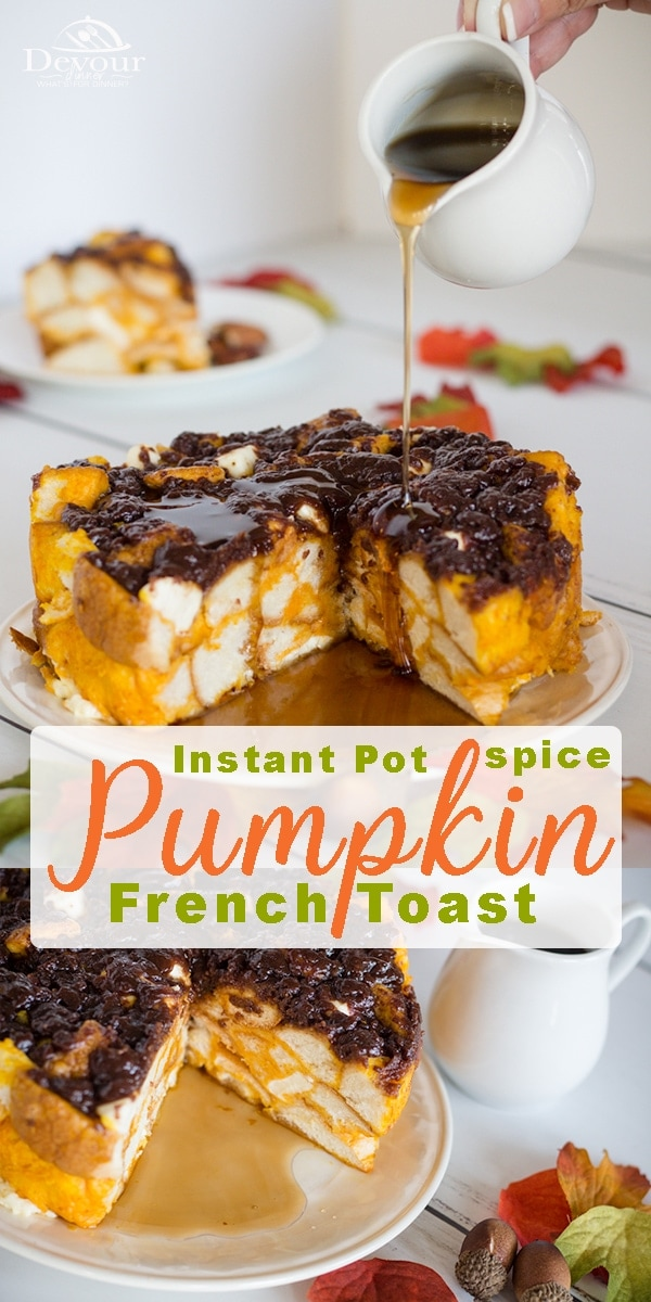 Pumpkin French Toast or French Toast Casserole is perfect when the leaves change colors, and the cool crisp air arrives after a long hot summer. It's fun to unwind with a seasonal Instant Pot Breakfast like this Pumpkin Cream Cheese French Toast. #devourdinner #instantpot #pressurecooking #instantpotbreakfast #frenchtoastcasserole #easybreakfast #easyrecipe #fall #pumpkin #pumpkinfrenchtoast #Recipe #recipes #food #foodie #yum #strugglemeal #Breakfast #HowtoInstantPotBreakfast #Recipeoftheday