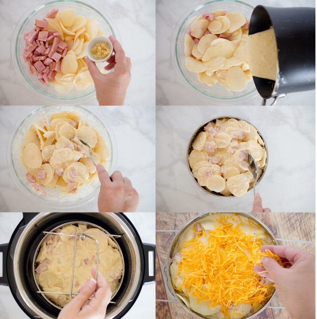 scalloped Potatoes and ham steps