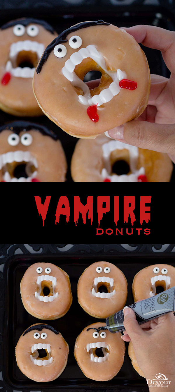Fight away the monsters by biting into a vampire halloween donut before it bites you! These spooky Halloween themed treats are incredibly easy to make and take hardly any time at all! #devourdinner #dessert #classparty #easyrecipe #halloweentreat #halloweendonut #vampiredonut #monsterdonut #vampireteeth #kidfriendly #kidfriendlydessert #funediblecraft #donut #glazeddonuts #spookytreat #recipe #recipes #food #foodie #recipeoftheday #Kidpartytreat #kidhalloween