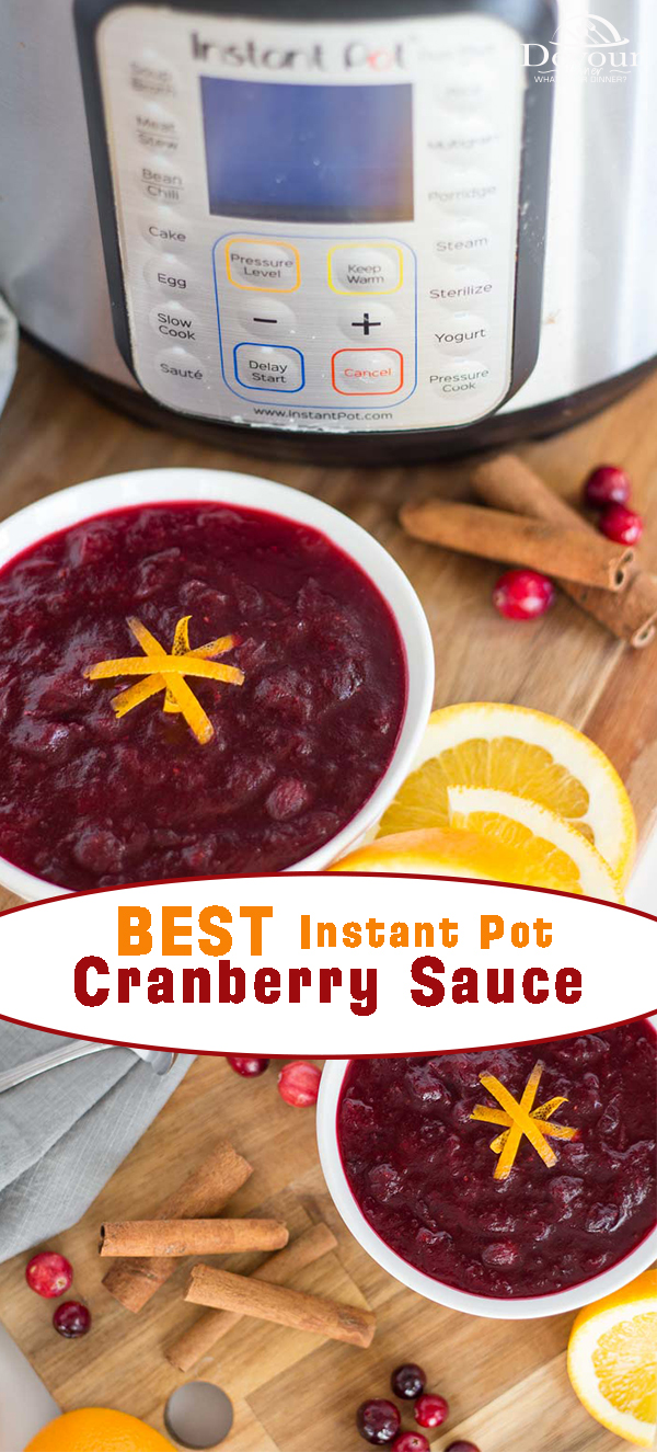 Fresh Cranberry Sauce is one of those traditional dishes that go on your Thanksgiving table every year whether anybody eats it or not. While you could open a can of jellied cranberry sauce, and place it in a bowl (as many people do) fresh cranberry sauce can be a real gamer changer this holiday season! #devourdinner #instantpot #instantpotrecipe #easyinstantpotrecipe #appetizer #easyappetizerrecipe #easyrecipe #beginnerrecipe #Thanksgivingrecipe #Cranberrysauce #easycranberrysaucerecipe #food