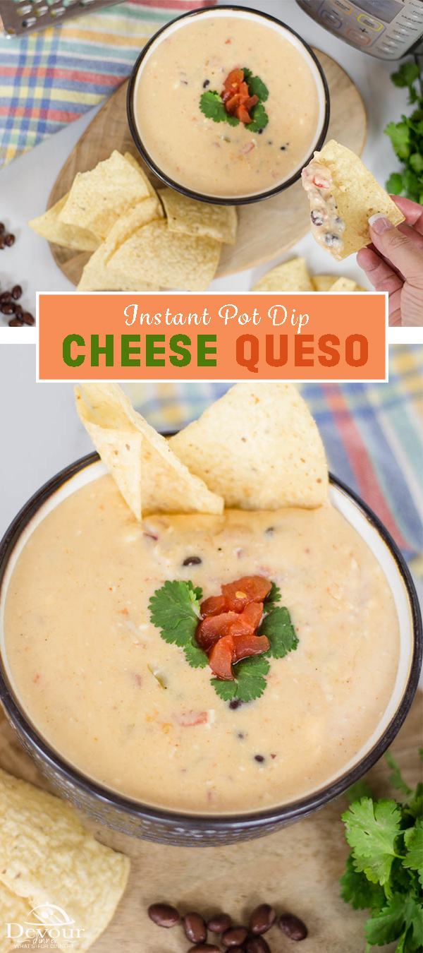 Queso Dip is an incredible and flavorful creamy dip that brings a warm fiesta to feel to the table. Enjoy it as an appetizer or munch on this queso dip and tortilla chips as a snack. There is no wrong way to enjoy a good queso dip recipe. #devourdinner #quesocheese #quesodip #quesodiprecipe #appetizer #appetizerrecipe #cheesedip #easyappetizer #easyappetizerrecipe #instantpot #instagood #instantpotrecipe #easyinstantpotrecipe #Pressurecooker #cowboyqueso #cowboydip #foodballappetizer #superbowl