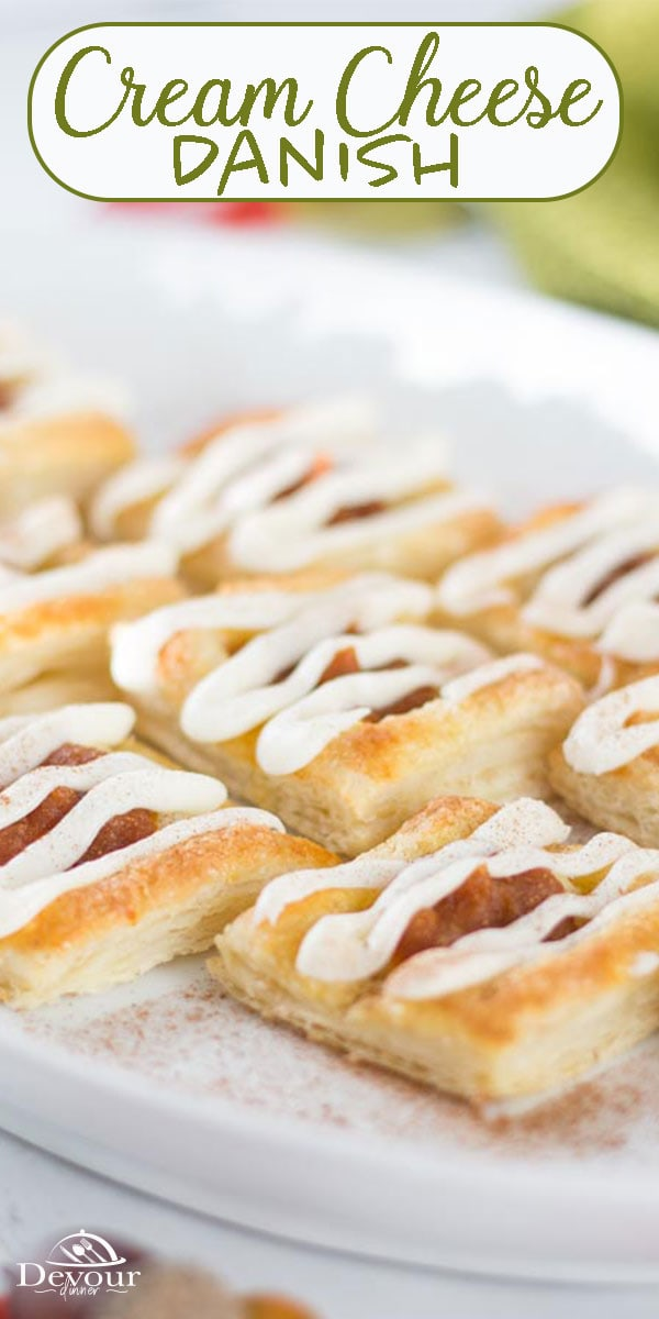 Delicious Cream Cheese Danish make a great breakfast, brunch, or snack food! With a sweet, rich filling and a nice pastry crust, it's not hard to see why they're so popular. Making them at home makes them even better because you don't have to make a trip out to the bakery. #devourdinner #devourpower #creamcheesedanish #breakfastrecipe #danish #puffpastry #easyrecipe #sweet #dessert #yum #yummy #food #foodie #recipe #recipes #easydessert #easybreakfast