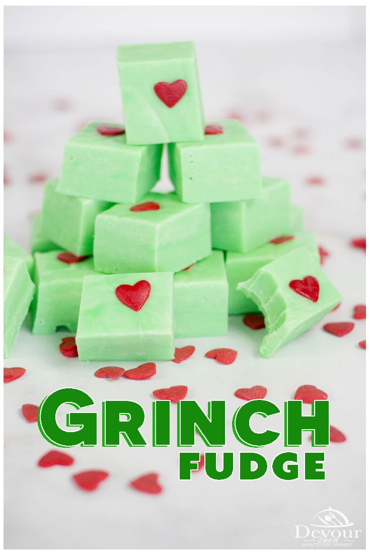 Grinch fudge is a delicious holiday treat that will delight everyone you meet. Their eyes will grow two sizes as the jaws drop and they look on in amazement at this easy fudge recipe that looks absolutely incredible and impressive once completed. #devourdinner #fudge #3ingredientfudge #christmasfudge #easydessert #instantpot #instagood #pressurecooker #microwavefudge #grinch #grinchdessert #grinchwhostolechristmas #foodie #recipe #recipes #easydessert #easydessertrecipe #yum #yummy #buzzfeast