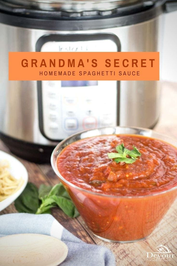 Instant Pot Spaghetti Sauce is an easy way to make the best spaghetti sauce at home. Unlike traditional sauces that require hours of simmering on the stove, this recipe is quick and easy. It is in fact, Grandma's Secret Recipe! #devourdinner #spaghetti #spaghettisauce #easyspaghettisauce #homamdespaghettisauce #pasta #food #easyrecipe #instantpot #instantpotrecipe #easydinner #easydinnerrecipe #recipe #recipes #recipeoftheday #buzzfeast #buzzfood #yummy #yum #instagood #foodie #pressurecook