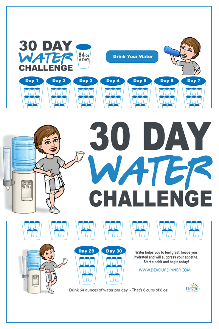 What is a Water Challenge? Getting healthy in the New Year and drinking water seem to go hand in hand. So let me tell you why I love the challenge of drinking water consistently to stay hydrated. FREE Printable to keep track of just how much water you are drinking day to day #30daywaterchallenge #devourdinner #hydrate #waterchallenge #stayhealthy #newyearsresolution #hydration #getfit #bemindful #healthyliving #healthylivingchallenge #challenge #64ozwater