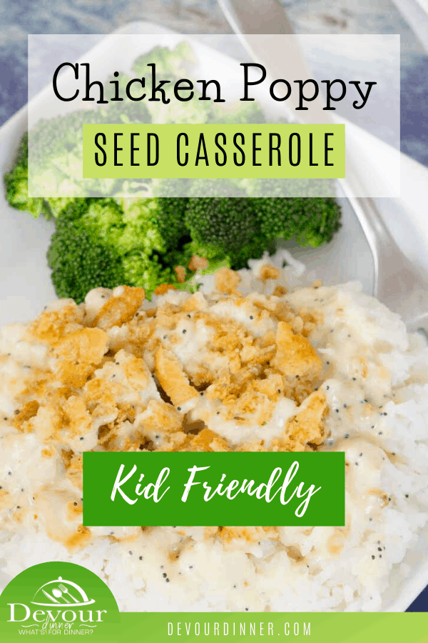 Poppy Seed Casserole is a delicious dish to bring to your dinner table. The rich and creamy sauces buttery cracker topping really make this dish delicious. Family favorite recipe we just can't get enough of. Serve over rice, noodles or even mashed potatoes. #devourdinner #easyrecipe #easydinnerrecipe #casserole #kidapproved #familyfriendlyrecipe #yum #yummy #chicken #easycasserolerecipe #recipeoftheday #foodiefriday #food #foodie #instantpot #ritzcracker #Poppyseed