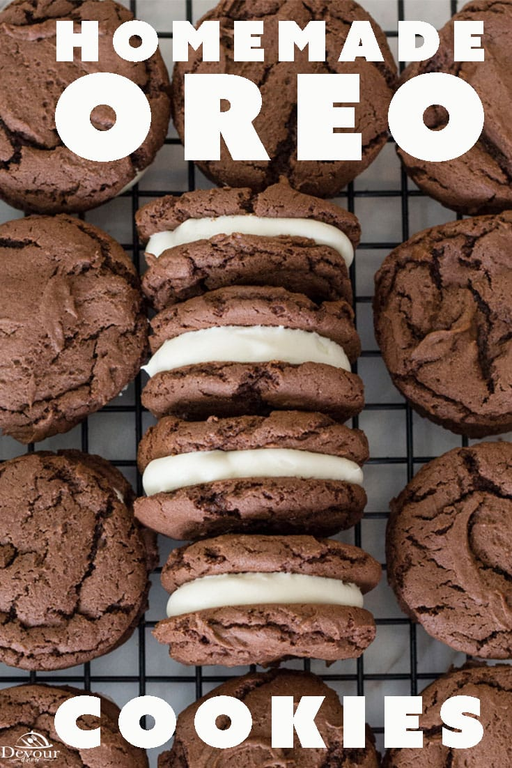 Homemade Oreo Cookie Recipe with a rich and creamy filling. Easy Cake Mix recipe the kids, both big and little, will love. Chewy Chocolate cookie with rich cream cheese frosting makes this the perfect OREO Cookie Recipe. #devourdinner #recipes #recipe #food #Foodie #easyrecipes #dessert #yummy #cookie #Oreo #copycat #copycatrecipe #homemade #buzzfeast #devourpower #easycookie #easycookierecipe #oreocookie #homemadeoreo #yum #yummy easydessert #cakemixcookie #cakemixrecipe