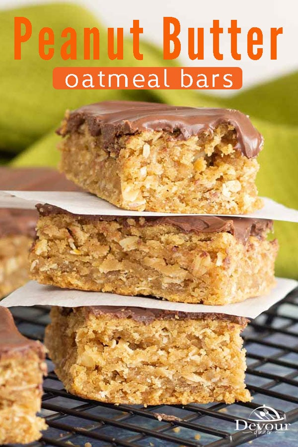 Peanut Butter Oatmeal Bars are a delicious treat featuring your favorite flavors of peanut butter and chocolate. These cookie bars are chewy, sweet and savory, the perfect combination. Although I've heard this recipe called by a number of names, it's always a winning recipe. #devourdinner #easydessert #dessertrecipe #dessertrecipes #barrecipe #cookie #cookierecipe #food #foodie #yum #yummy #Recipeoftheday #foodiefriday #buzzfeed #bosch