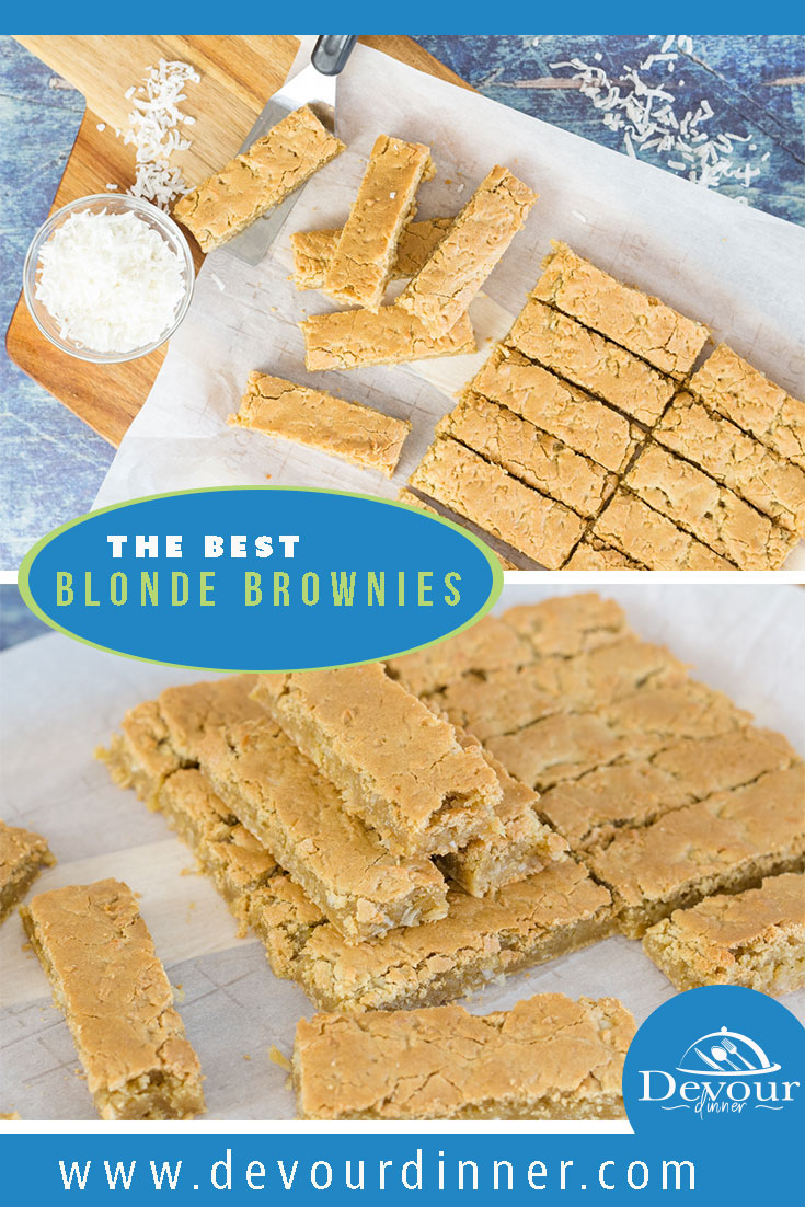 Butterscotch brownies are a delicious and gooey treat that you're going to love. The brown sugar in this recipe helps to give it an unusual and deliciously rich flavor profile that makes these butterscotch bars so impossible to resist. #devourdinner #barcookies #blondebrownie #brownie #blondebrownierecipe #easydessert #easyrecipe #recipe #recipes #food #foodie #yum #yummy #boschmixer #boschuniversalmixer #kidapproved #recipeoftheday #foodiefriday