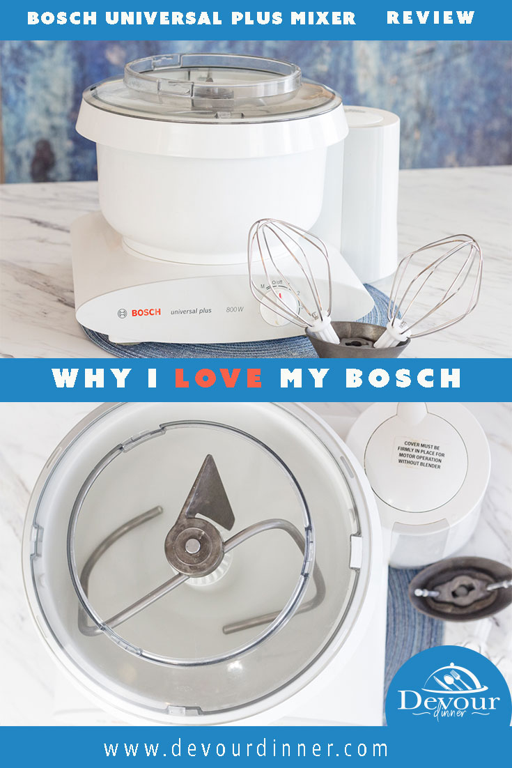 The Bosch Universal Plus Mixer is an incredible appliance that is worth investing in. We live in a world where Kitchen Aid Mixers are in almost every kitchen or everybody knows somebody who owns one. I want to share with you my 44 year experience with Bosch Mixers. #devourdinner #bosch #boschuniversalmixer #boschmixer #productreview #standmixer #cookies #bread #recipe