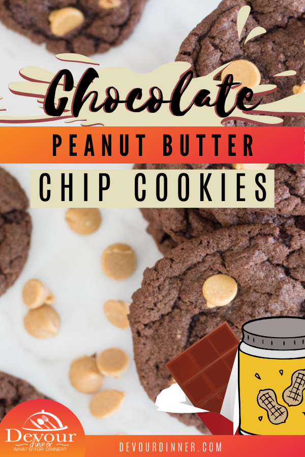 Chocolate Cookies with Peanut Butter Chips are a delicious and tasty treat that simply cannot be beaten! They are so soft, chewy and absolutely incredible and it's practically impossible to just eat one. You're going to love this delicious and savory twist to a chocolate cookie. #devourdinner #chocolatecookie #chocolatePeanutbutter #easycookierecipe #easycookie #easydessert #dessert #recipe #recipes #food #foodie #yum #yummy
