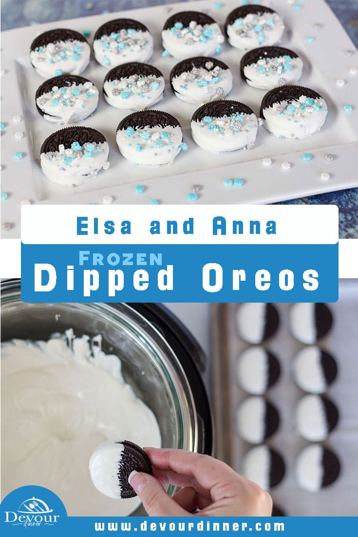 Enjoy these Frozen themed Oreo cookies. Dipped in melting chocolate and topped with sprinkle these cookies are incredibly easy to make and look as great as they taste. Perfect for your next Frozen Birthday party or a themed movie night these cookies will disappear as quickly as you made them. Making these cookies is made even faster and simpler thanks to your Instant Pot, so go ahead and try them today! #devourdinner #dippedoreos #candydippedoreos #frozenoreos #yum