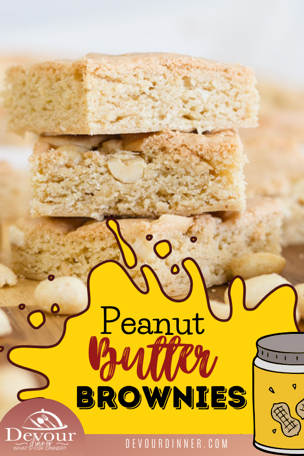 Peanut butter brownies are a delicious and flavorful twist to a traditional chocolate brownie and they taste so good that you may never want to go back to regular brownies again! With soft and chewy brownies filled with peanut butter flavors in every bite, it's not hard to see why! #devourdinner #blondebrownie #peanutbutterbrownie #peanutbutter #easydessert #easybrownie #food #foodie #yum #yummy #recipe #recipes #bosch #recipeoftheday