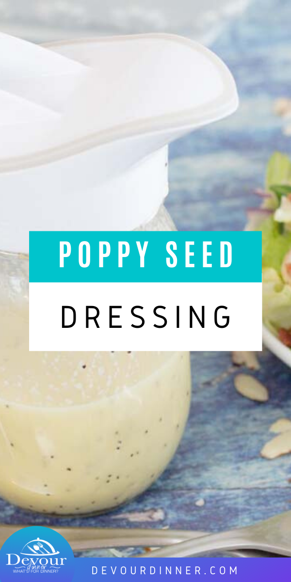 Complete your tasty green salads with this super simple (and vegan) Poppy Seed dressing recipe. It's a salad dressing you can make in no time at all and with the help of a blender and it's one you'll want to make over and over again. With a tangy sweet profile it's perfect for spinach salads and so much more! Try it today and you'll see what I mean. #devourdinner #poppyseed #poppyseedsaladdressing #saladdressing #sidedish #easyrecipe #spinachsalad #yum #yummy #recipe #recipes
