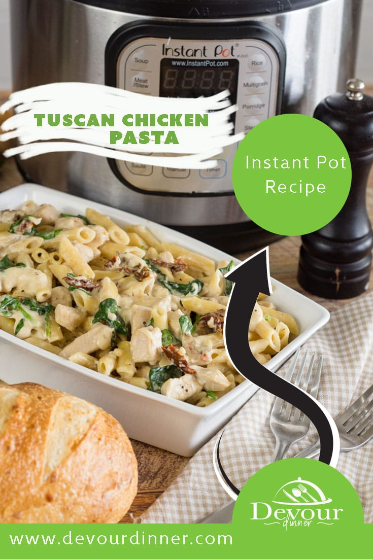 Tuscan Chicken Pasta is a creamy pasta dish filled with a homemade sauce filled with sun dried tomatoes, spinach, and parmesan cheese. It's an absolutely incredible dish that tastes great when served around sunset with a good glass of wine you may feel like you're taking a mini-vacation without leaving your home. #devourdinner #dinnerrecipe #easydinner #instantpot #instantpotrecipe #chicken #tuscanchicken #instantpottuscanchicken #creamytuscanchicken #tuscanchickenpasta #recipe via @devourdinner