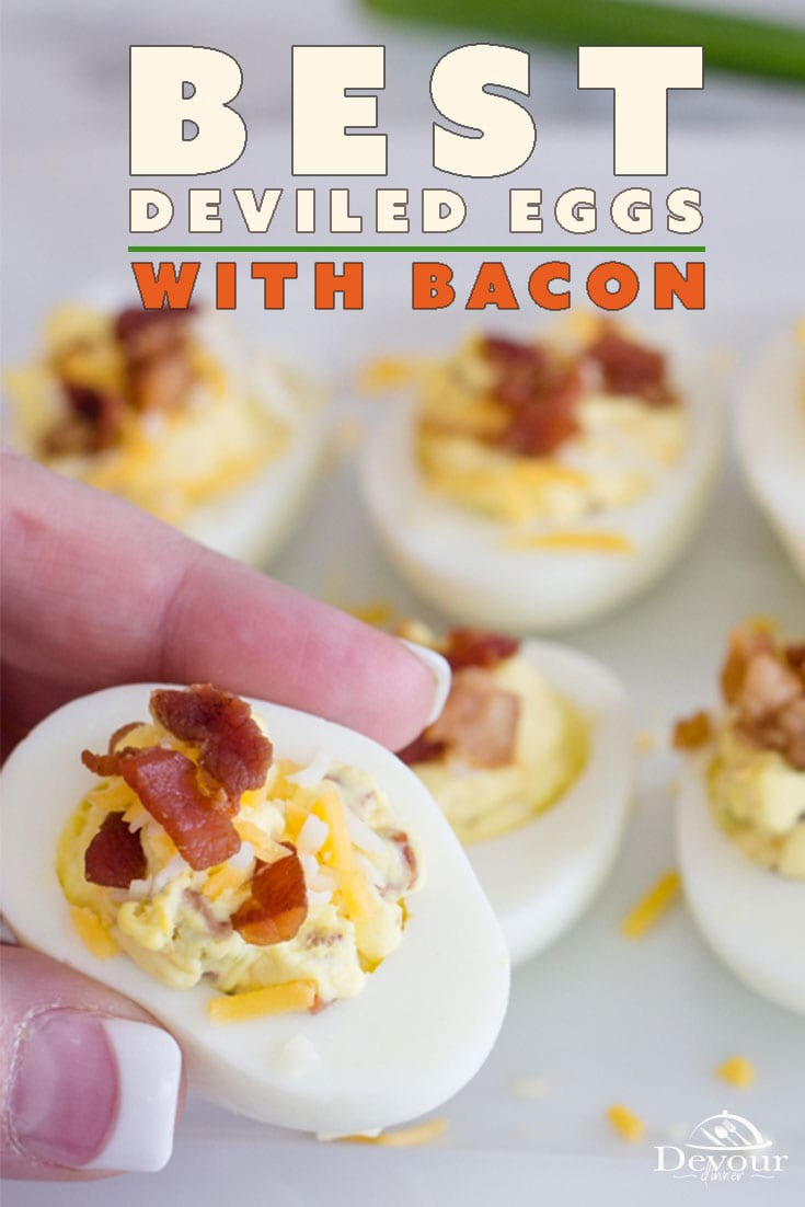 "Deviled Eggs with Bacon are the ""something new"" that you didn't know you needed in your life. Everyone loves the delicious smokey flavors and crispness of cooked bacon. But when combined with the fluffy and soft eggs, we have a real winning recipe on our hands. #devourdinner #devourpower #deviledegg #deviledeggwithbacon #instantpotdeviledegg #instantpot #instantpotrecipe #appetizer #appetizerrecipe #easyappetizer #recipe #recipes #yum #yummy"