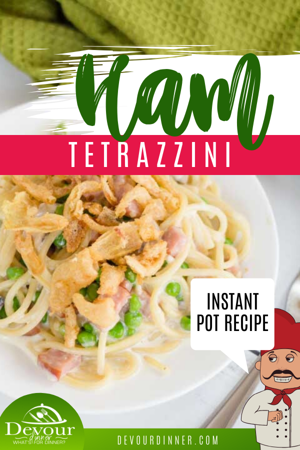 You're going to enjoy this delicious and easy ham tetrazzini recipe. Made with leftover ham, peas, and heavy cream you get a flavorful pasta dish that everyone will enjoy. What makes it even better is how simple and fast it is to make thanks to your Instant Pot! Try this recipe today and see how it can become a fast family favorite. #devourdinner #onepotmeal #instantpot #instantpotrecipe #ham #hamtetrazzini #tetrazzini #easydinner #easyrecipe #recipe #recipes #Food #yum #yummy