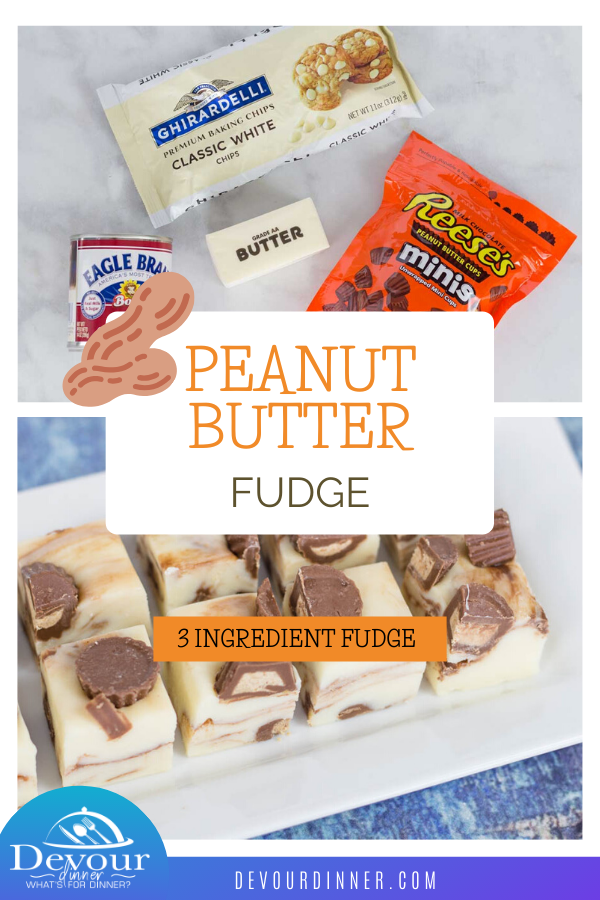 Peanut butter fudge is a delicious dessert or candy treat that is welcome in my house any time of the year! With a delicious white chocolate base, creamy textures and peanut butter cups, you can bet it's going to taste amazing! #devourdinner #easyrecipe #fudge #3ingredientfudge #easydessert #instantpot #instantpotrecipe #instantpotdessert #peanutbutter #peanutbutterfudge #easyfudgerecipe #easyfudge #dessert #easydessertrecipe #dessertrecipe #food #foodie #yum #yummy