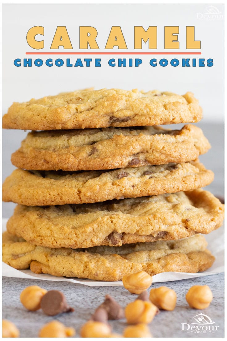 Caramel Chocolate Chip Cookies are the next best thing in innovative cookie recipes. Actually, they've been around for quite some time now, but they're still as brilliant as ever. With all of the greatness of chocolate chip cookies with caramel bits, you can't complain. #devourdinner #devourpower #cookies #caramelchocolatechipcookies #cookierecipe #easycookies #caramelchocolatechookies #easydessert #dessertrecipe #bestcookies