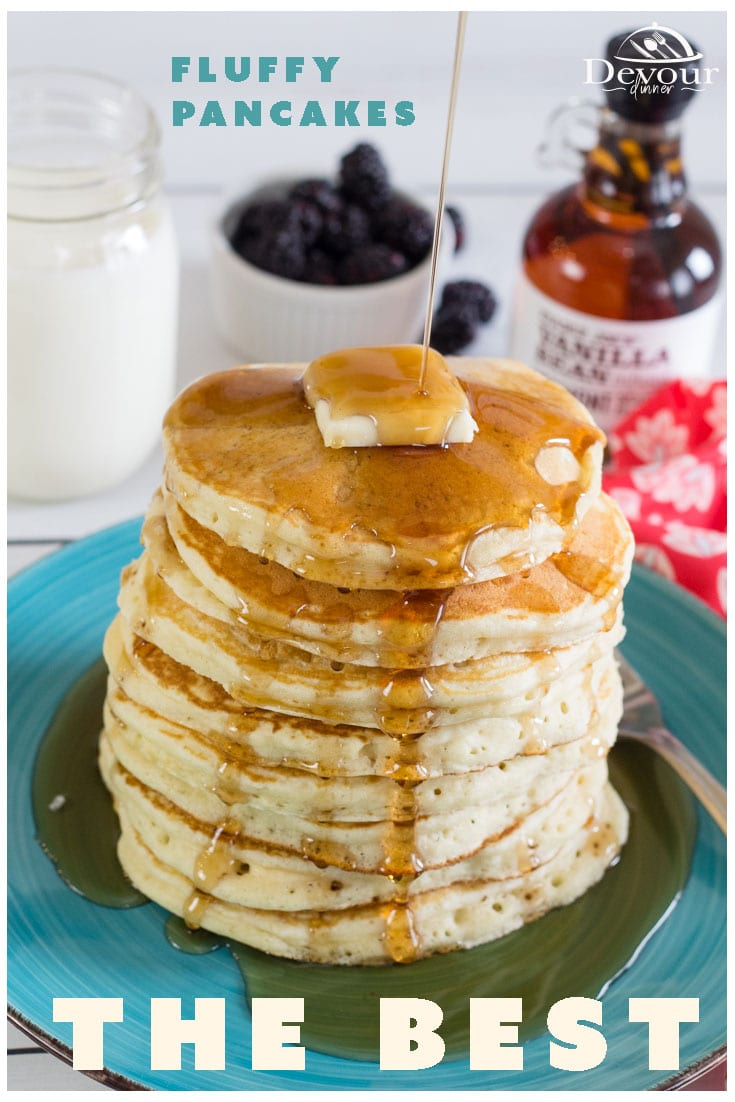 Making the BEST Fluffy Pancakes is a dream come with with my Secret Tip. You will have resturant quality Pancakes for Breakfast that you dream of. Easy to make recipe from scratch that tastes delicious too. Use your favorite syrup or make some homemade and you won't ever leave your house again. #devourdinner #devourpower #bestfluffypancakes #fluffypancakes #easyrecipe #easypancakes #easyfluffypancakes #easybreakfastrecipe #easybreakfast #recipeoftheday #foodiefriday #Yum #yummy #food