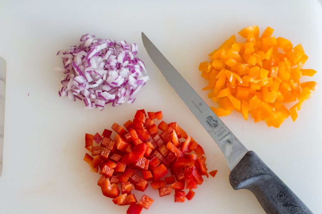 Diced Bell Peppers and Onions