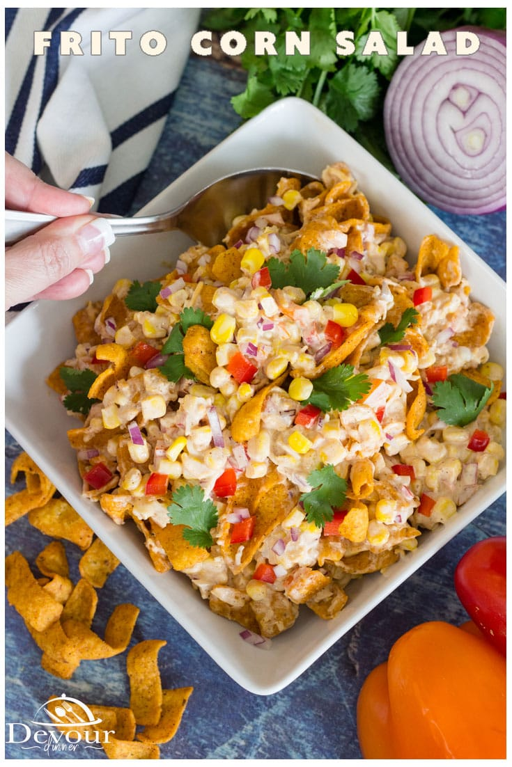 Frito Corn Salad is a tasty dish that's going to liven up any fiesta themed meal. It would also make an incredible tailgate snack recipe that everyone can enjoy. With a few simple ingredients and 2 steps from start to finish, it's about as easy as it gets! #devourdinner #devourpower #sidedish #BBQSidedish #easyrecipe #easysidedish #Pauladeanfritocornsalad #fritocornsalad #fritosaladrecipe #potlucksalad #bbqsidedish #cornsalsa #fiestacorn