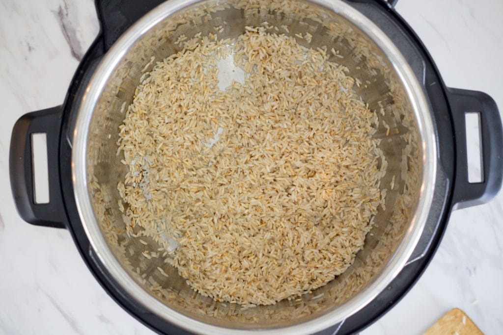 Cilantro Lime Rice browning in Instant Pot