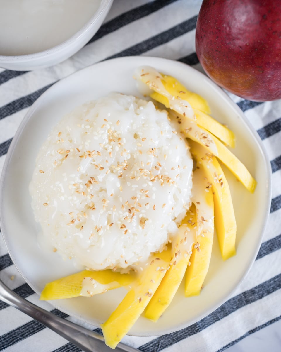 Place Rice, Mango, and Sweetened Coconut Drizzle