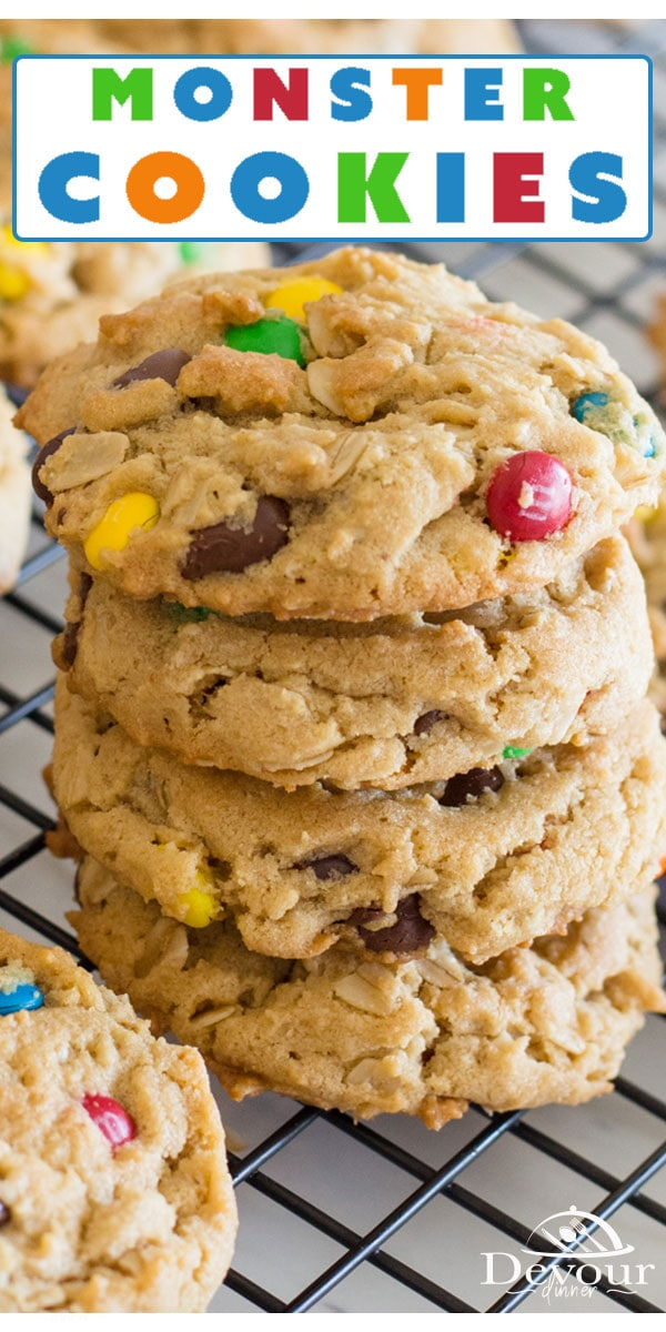 Monster cookies may not look like the monster in your closet. They do, however, look like the one you'd want in your stomach. These cookies are packed full of your favorite flavors, candies, and ingredients. Make a batch and freeze for later so you always have a snack to feed those little monsters in your home. #devourdinner #devourpower #dessert #monstercookies #monstercookierecipe #easycookies #oatmeal #recipe #recipes #yum #yummy #recipeoftheday #cookie #cookies