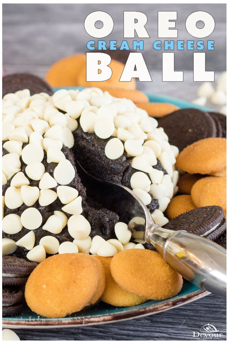 An Oreo Cream Cheese Ball is like an Oreo Truffle that's large enough for the family to share. Of course, eating it yourself isn't against the law either. If you love that irresistible flavors of cheesecake, and Oreo cookies, then you can guess at how wonderful this dessert cheese ball will be. #devourdinner #devourpower #oreocreamcheeseball #cheeseballdessert #dessert #easydessert #oreotruffle #oreocookie #easydessertrecipe #chocolate #whitechocolate #dessertrecipe #food #yum #yummy