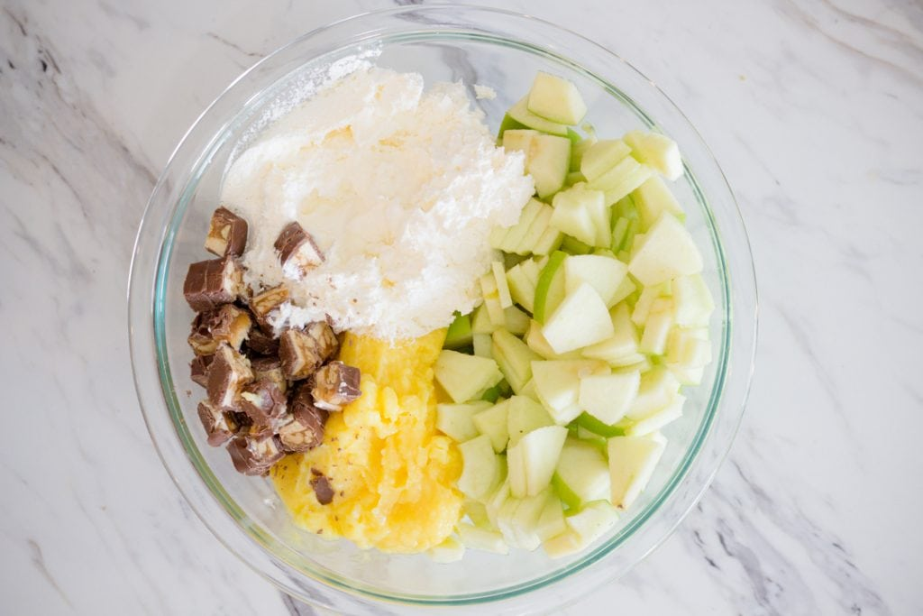 Mixing Bowl in Snicker Apple Salad Ingredients
