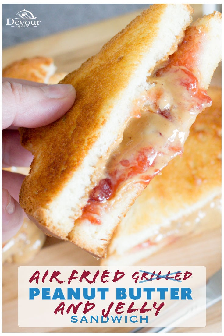 Grilled Peanut Butter and Jelly Sandwich with a twist, Air Fried! You heard me. Throw that PB&J in the Air Fryer for the PERFECT sandwich that will make you feel like a school girl again, but better! Easy to make with your favorite Jam and Peanut Butter and in a few minutes you will have the best lunch ever. #devourdinner #devourpower #pb&J #PeanutButterandJelly #GrilledPeanutButterandJelly #Sandwich #Lunch #kidskorner #easyrecipe #airfryer #crisplid #mealthy #airfriedPeanutbutterandjelly