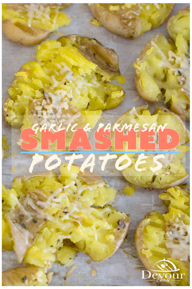 You know you've seen Smashed Potatoes and wondered if they were hard to make but never found a recipe, until now! Smashed Potatoes are the BEST of both worlds and a mix between a Baked Potato and Roasted Potatoes. #devourdinner #devourpower #sidedish #sidedishrecipe #easyrecipe #smashedpotatoes #smashedpotato #appetizer #appetizerrecipe #newpotatoes #garlicpotato #garlicparmesanpotatoes #Instantpot #instantpotrecipe #Pressurecooking #pressurecookingrecipe #yum #yummy #recipe #recipes #food