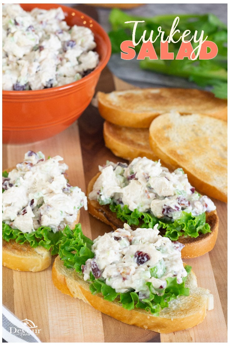 Get a napkin and wipe your mouth because you will soon be drooling over this Turkey Salad loaded with pecans and cranberries. The flavors combine for a perfect tangy crunch on the best sandwich you will crave. Use leftover Turkey or Instant Pot Directions included for a delicious Turkey Salad Recipe #devourdinner #devourpower #turkeysalad #turkeysaladrecipe #turkeysaladsandwich #easyrecipe #leftoverturkey #sandwich #easydinner #easylunchrecipe #dinnerrecipe #food #foodie #yum #yummy