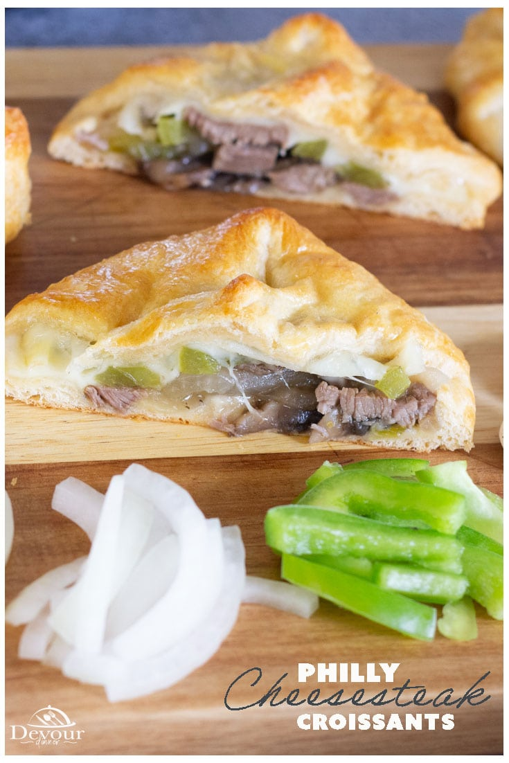 Are you ready for a lip licking recipe for Easy Philly Cheesesteak? Philly Cheesesteaks are loaded with tender pieces of beef, onion, bell peppers, cheese and seasoned to perfection. Making Cheesesteak Sandwiches is a breeze when using Croissants for a fun easy dinner or weekend lunch. Easy Instant Pot Recipe that cooks in 1 minute. You'll be eating in no time! #devourdinner #devourpower #instantpot #instantpotrecipe #phillycheesesteak #easyphillycheesesteak #phillycheesesteaksandwich #yum