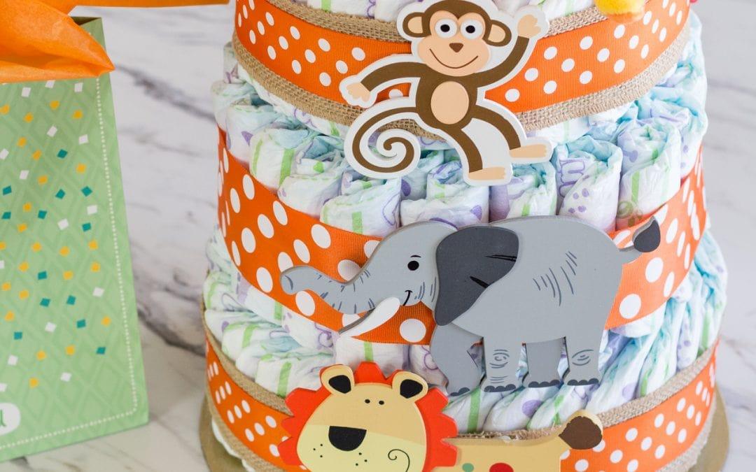 Easy to make Safari Baby Diaper Cake