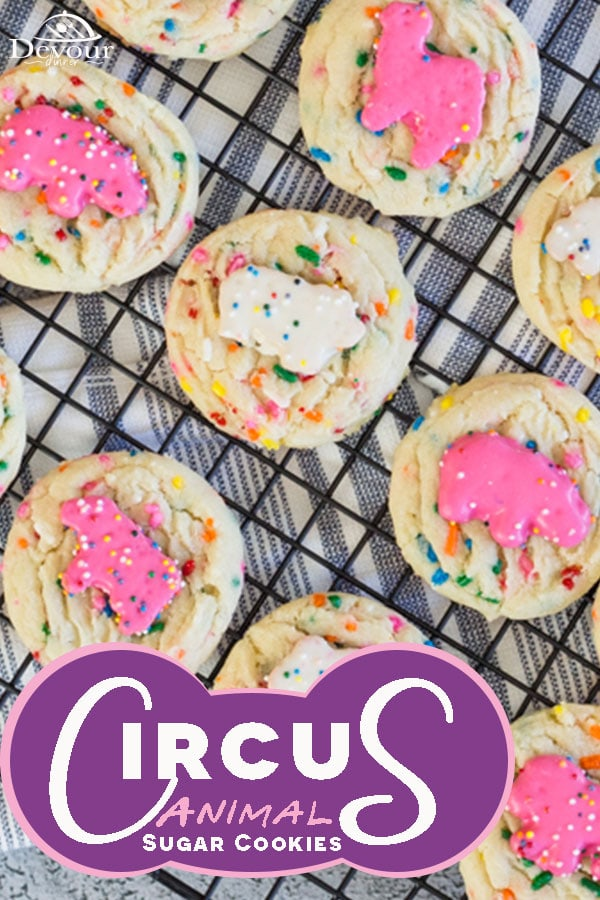 Let's talk Circus Animal Sugar Cookies, aren't they so cute? Adorable if you ask me and the best part is you get a soft and chewy sugar Funfetti cookie with a favorite Circus Animal on top. These cookies flew off the plate and into the hands, both young and old, at our last gathering. #devourdinner #devourpower #dessert #cookie #cookies #cookierecipe #Circusanimalscookies #softsugarcookie #easycookierecipe #funfetticookierecipe #sprinklecookies #kidapproved #familyfavorite #circusanimals
