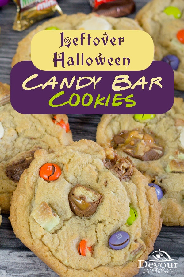 Using Leftover Halloween Candy is genius in these Candy Bar Cookies. A soft and chewy cookie only tastes better with some of your bite size favorite candy bars added in the mix. Don't forget M&M chocolate pieces, they are a fun color addition & a perfect ingredient to add too. #devourdinner #devourpower #Candybarcookies #halloweentreatsweek #easyhalloweencookies #halloweencookieideas #devourdinner #devourpower #recipeoftheday #YummyInMyTummy #onmyplate #foodtime #huffposttaste #foodforthought