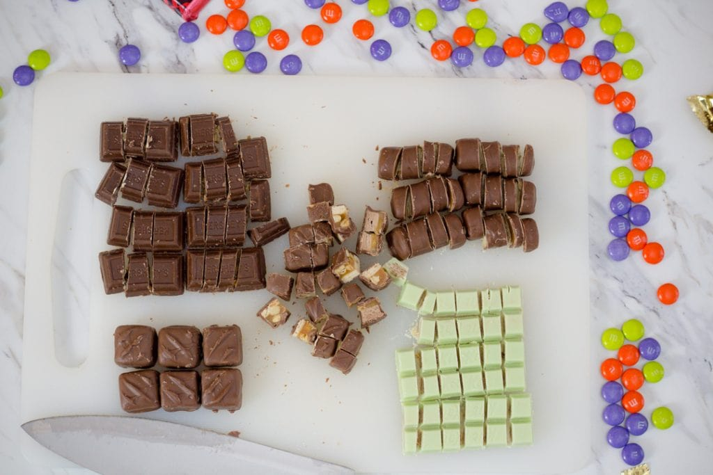 Bite Sized Candy Bars Chopped