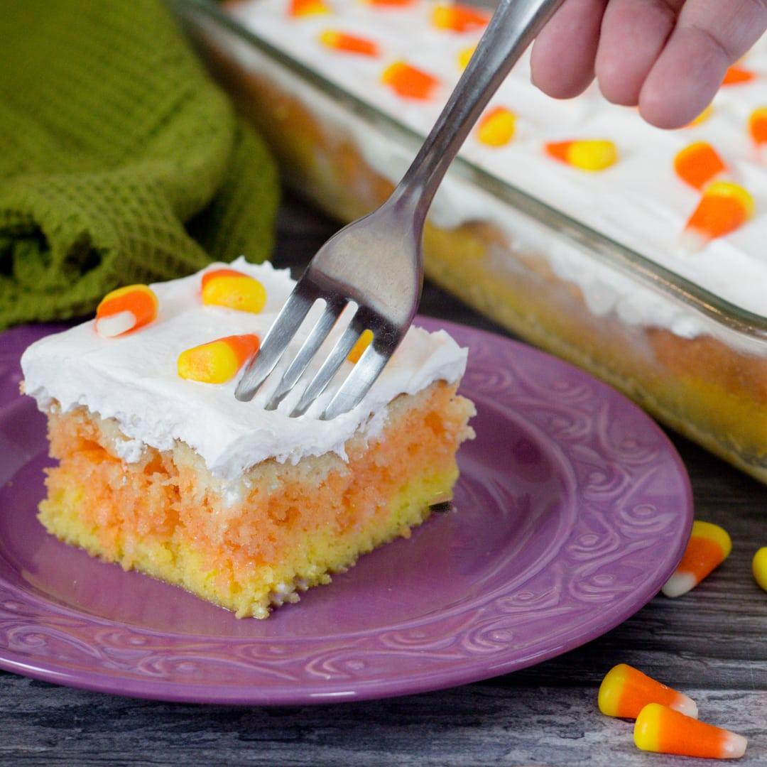 How to make Candy Corn Poke Cake Step by Step #halloweentreatsweek