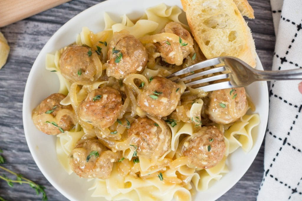 Instant Pot French Onion Meatballs