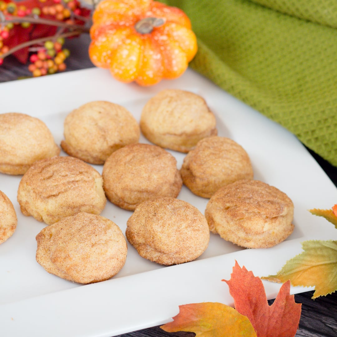Soft, Chewy and Delicious Pumpkin Snickerdoodles #halloweentreatsweek