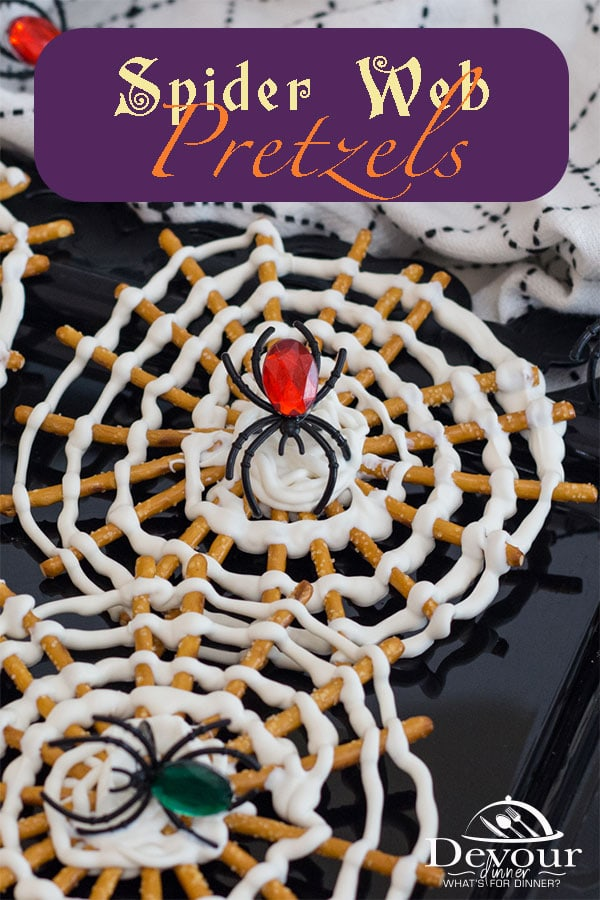You don't want to get caught in this Spider Web, or do you? Making a fun and easy Halloween Pretzel Treat is so fun and you will love adding a creepy spider into the web of melted white candy wafers on pretzel sticks for a fun Halloween Treat. #devourdinner #devourpower #easyrecipe #recipeoftheday #YummyInMyTummy #onmyplate #foodtime #huffposttaste #foodforthought #abmfoodie #beautifulcuisine #foodblogfeed #foodanddrink #feastgrams #barereaders #foodblogeats #beautifulfood #halloweenPretzelTreat
