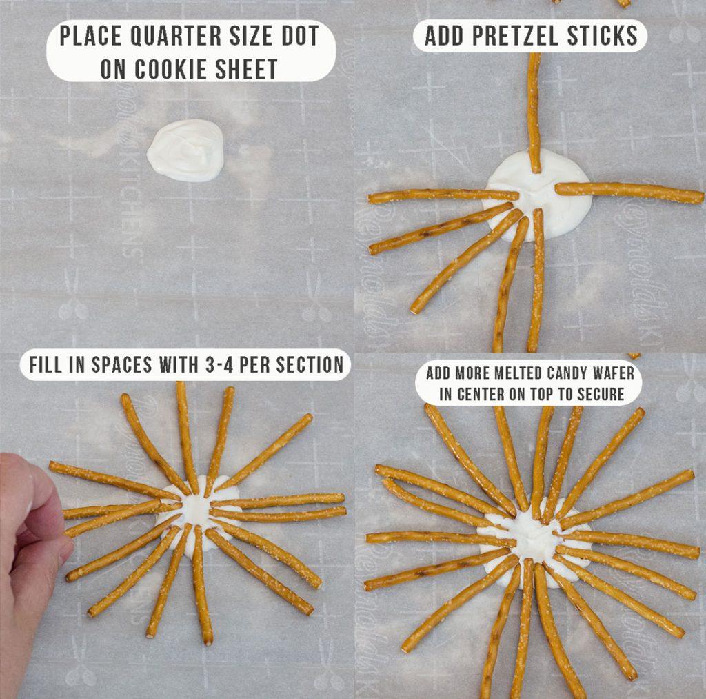 Place Spider Web Pretzels on baking sheet