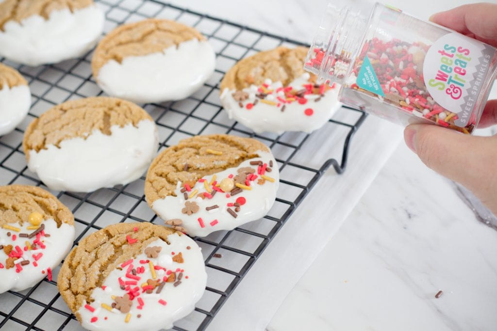 Adding sprinkles to cookies