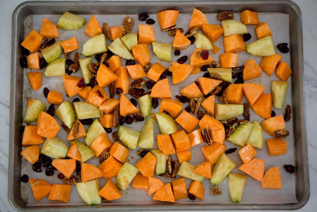 Roasting Pan with Sweet Potatoes and Apples