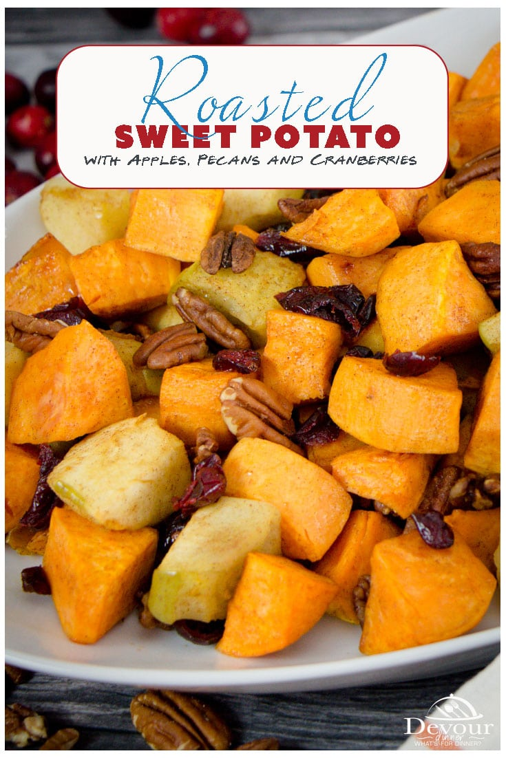 Roasted Sweet Potatoes and Apples just like Grandma used to make are super simple to make. So simple in fact, you will scratch your head thinking surely there is more to it. Trust me, it's just an easy recipe to make the best Roasted Sweet Potatoes and Apples you've ever had. #devourdinner #devourpower #roastedsweetpotato #roastedsweetpotatoandapple #roastedveggie #sidedish #easysidedish #holidayrecipe #thanksgiving #thanksgivingrecipe #yum #yummy #food #foodie